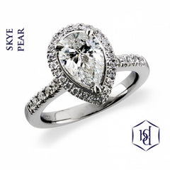 Skye Pear Shape Cut Platinum Cluster Diamond Ring, 0.43ct