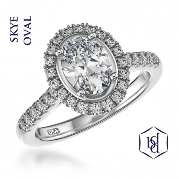 Skye Oval Cut Platinum Cluster Diamond Ring, 0.77ct