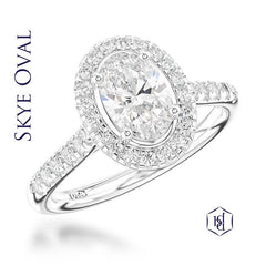 Skye Oval Cut Platinum Cluster Diamond Ring, 0.57ct