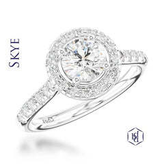Skye Round Brilliant Cut Platinum Cluster Diamond Ring, 0.59ct