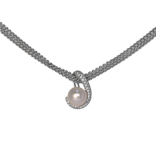 18ct White Gold Triple Chain Diamond Set South Sea Pearl Pendant, 0.92ct
