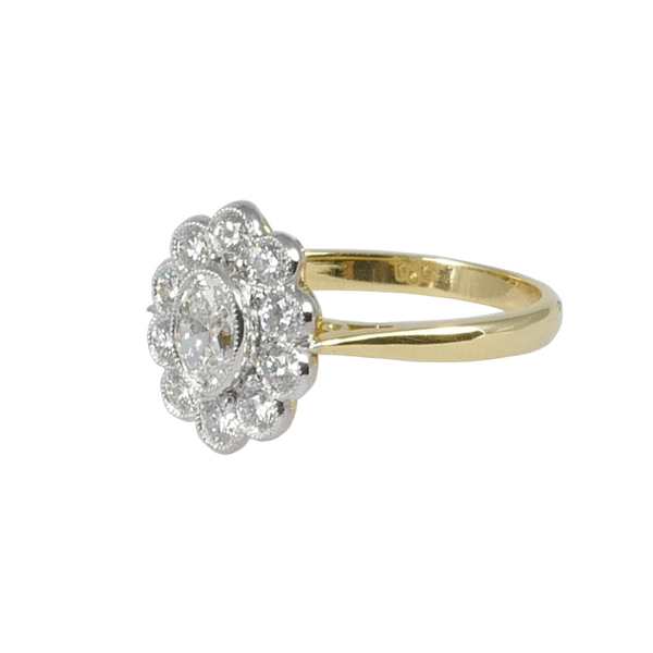 18ct Yellow Gold Diamond Cluster Ring, 0.87ct