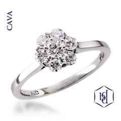 Cava Round Brilliant Cut Platinum Cluster Ring, 0.61ct