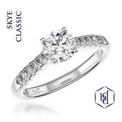 Skye Classic Round Brilliant Cut Platinum Solitaire Diamond Ring, 0.76ct