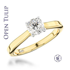 Open Tulip Round Brilliant Cut 18ct Yellow Gold Solitaire Ring, 0.41ct