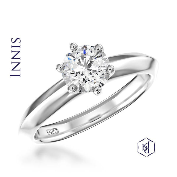 Innis Round Brilliant Cut Platinum Solitaire Ring, 0.51ct