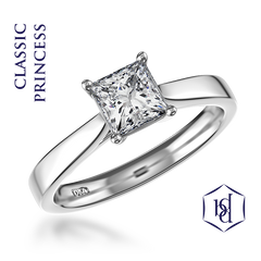 Classic Princess Cut Platinum Solitaire Ring, 0.30ct