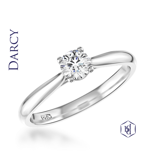 Darcy Round Brilliant Cut Platinum Solitaire Ring, 0.30ct