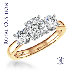 18ct Yellow Gold & Platinum Royal Cushion 3-Stone Ring, 1.35cts