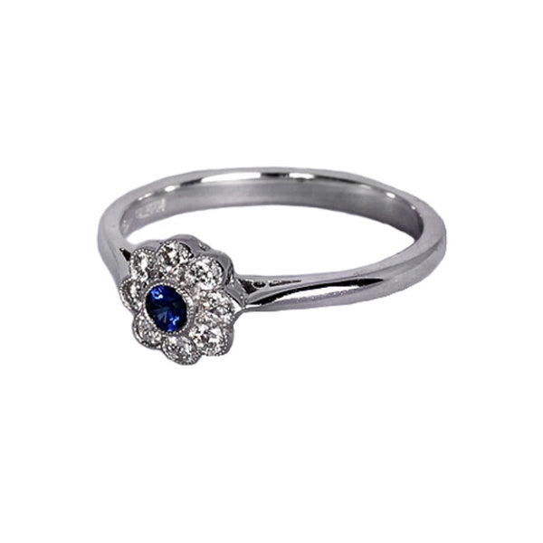 18ct White Gold Sapphire & Diamond Cluster Ring, 0.22ct