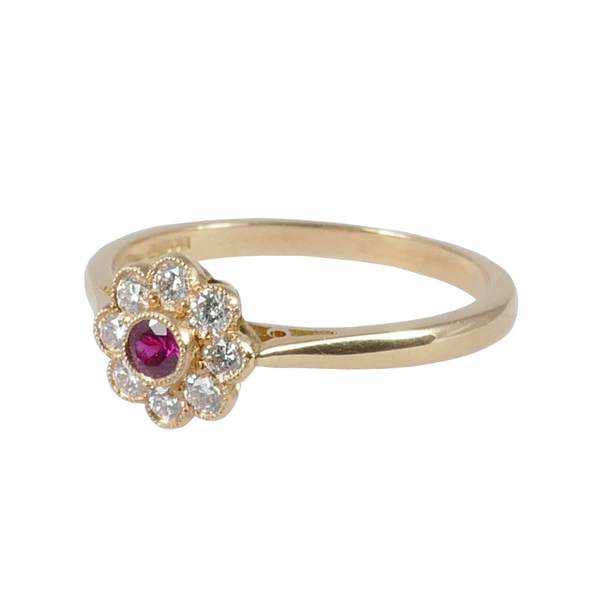18ct Rose Gold Ruby & Diamond Cluster Ring, 0.22ct