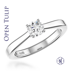 Open Tulip Round Brilliant Cut Platinum Solitaire Ring, 0.18ct