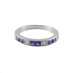 18ct White Gold Sapphire & Diamond Half Eternity Ring, 0.61ct & 0.17ct