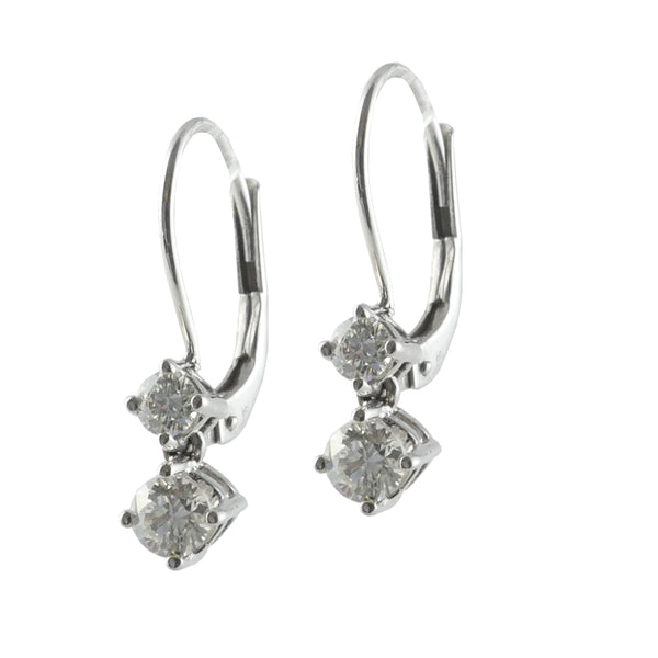 18ct White Gold & Diamond Drop Earrings, 0.40ct
