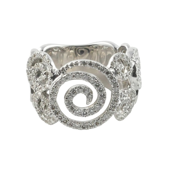 18ct White Gold Diamond Swirl Ring, 0.76ct