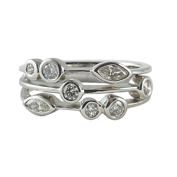 18ct White Gold Scatter Ring, 0.50ct
