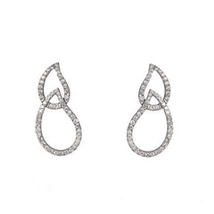 18ct White Gold Double Teardrop Drop Earrings, 1.10ct