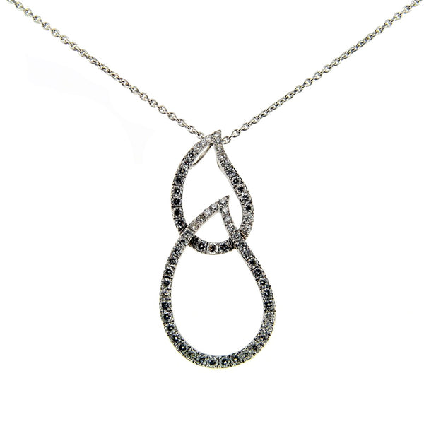 18ct White Gold & Diamond Double Teardrop Pendant, 0.60ct