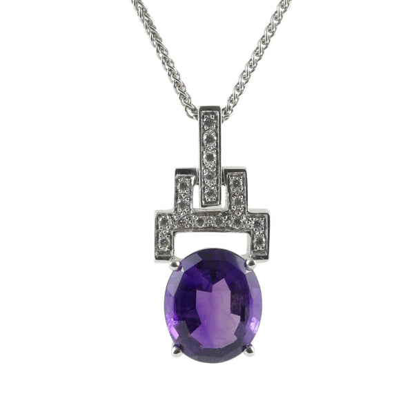 18ct White Gold Amethyst & Diamond Set Pendant
