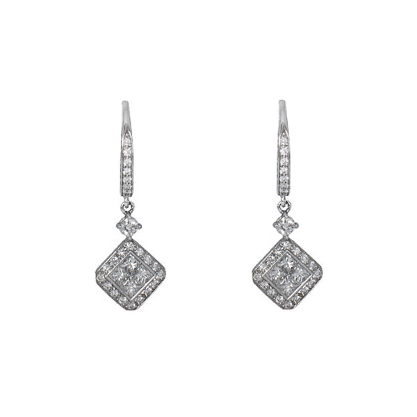 18ct White Gold & Diamond Drop Earrings, 1.04cts