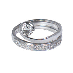 18ct White Gold Channel Set Diamond & Solitaire Ring, 0.68ct