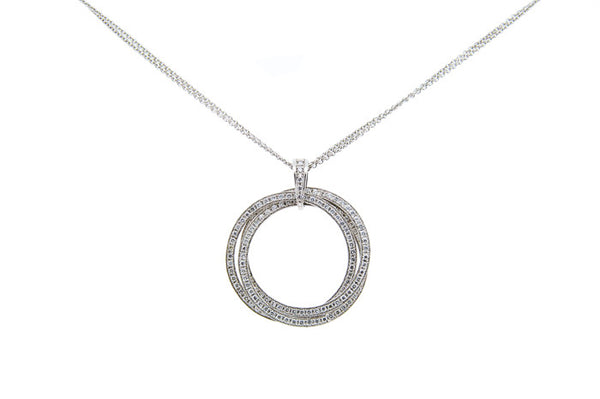 18ct White Gold Diamond Circle Pendant, 1.07ct