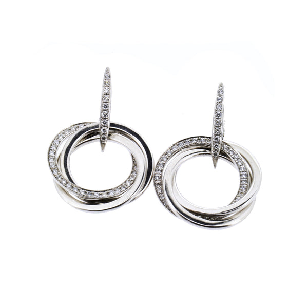 18ct White Gold Diamond Circle Drop Earrings, 0.61ct