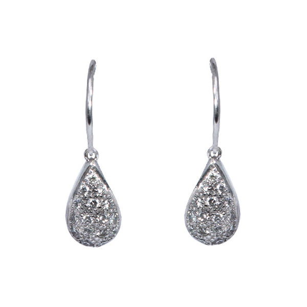 18ct White Gold & Pave Set Diamond Drop Earrings, 0.64ct