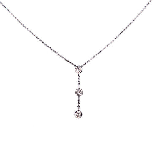 18ct White Gold Diamond Drop Necklace, 0.20ct