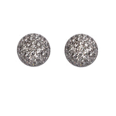 Diamond Pave Set 'Disco Ball' Stud Earrings, 1.53cts