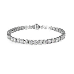 18ct White Gold Rubover Diamond Bracelet, 5.80cts