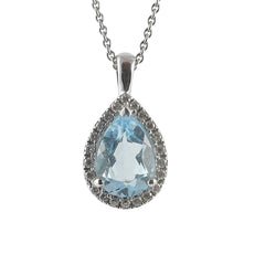 18ct White Gold Blue Topaz & Diamond Pendant