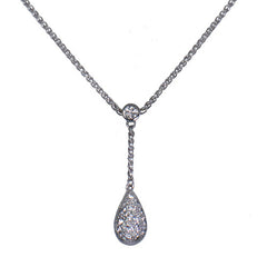 18ct White Gold & Diamond Teardrop Pendant, 0.55ct