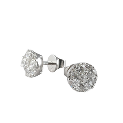 18ct White Gold Diamond Cluster Stud Earrings, 1.57ct