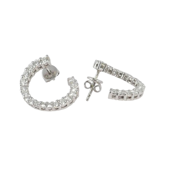 18ct White Gold Diamond Hoops, 1.70cts
