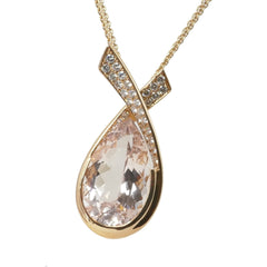 18ct Rose Gold Morganite & Diamond Pendant