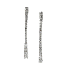 18ct White Gold Diamond Pillar Drop Earrings, 1.30cts