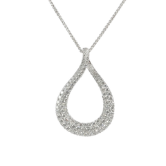 18ct White Gold & Diamond Twisted Teardrop Pendant, 1.97cts