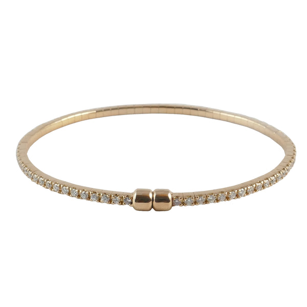 18ct Rose Gold Diamond Tennis Bangle, 1.50cts