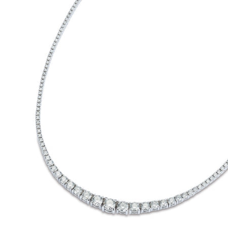 18ct White Gold Graduated Riviera Necklace, 4.75cts