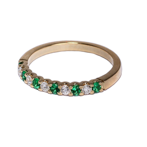 18ct Yellow Gold Diamond & Emerald Half Eternity Ring, 0.14ct