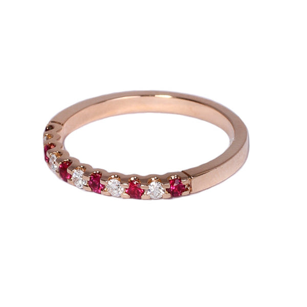 18ct Rose Gold Diamond & Ruby Half Eternity Ring, 0.14ct