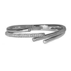 18ct White Gold Diamond Hinged Bangle, 2.46cts