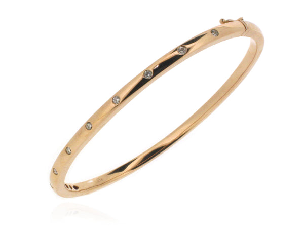 18ct Rose Gold Diamond Set Bangle, 0.27ct