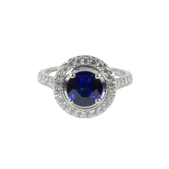 Platinum Set Brillaint Cut Sapphire & Diamond Ring, 0.43ct