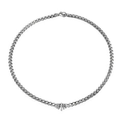 18ct White Gold Flex'it Wild Rose Necklace, 0.12ct