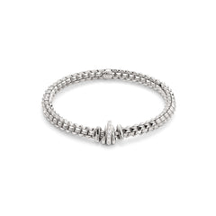 18ct White Gold & Diamond Flex'it Wild Rose Bracelet, 0.12ct