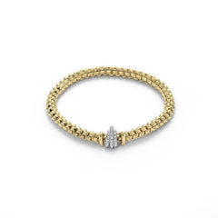 18ct Yellow Gold & Diamond Flex'it Wild Rose Bracelet, 0.33ct