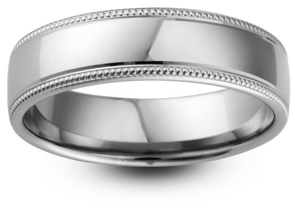 Double Milgrain Border Wedding Ring