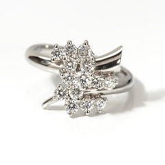 Platinum Diamond Trumpet Cluster Ring, 0.85ct